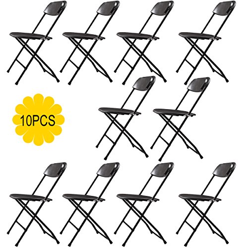 JAXPETY (10) Commercial Black Plastic Folding Chairs Stackable Wedding Party Event Chair (10 Folding Chairs)