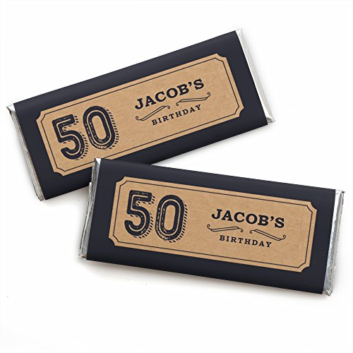 Custom Birthday Candy Bar Wrappers (Custom 50th Milestone Birthday - Dashingly Aged to Perfection - Personalized Birthday Party Favors Candy Bar Wrappers - Set of)