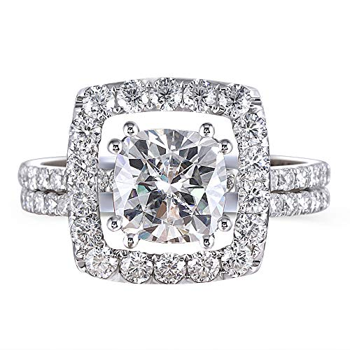 DovEggs 14K White Gold Center 1.5ct 7mm GH Color Cushion Cut Moissanite Halo Engagement Wedding Ring Set 2 Pieces - Wedding Sets Moissanite