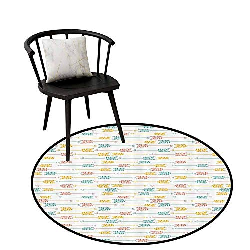 Home Round Rug Arrow Decor Collection Can be Folded Abstract Geometric Pattern Horizontal Arrow Pointing Two Opposite Directions Print Paprika Mustard Blue D31(80cm)