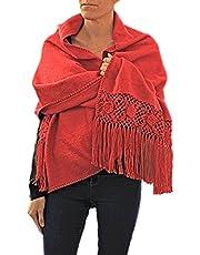 TINKUY PERU - Peruvian Alpaca Wool - Women's Crochet Hand - Knitted Flowers Pashmina Shawl Wrap