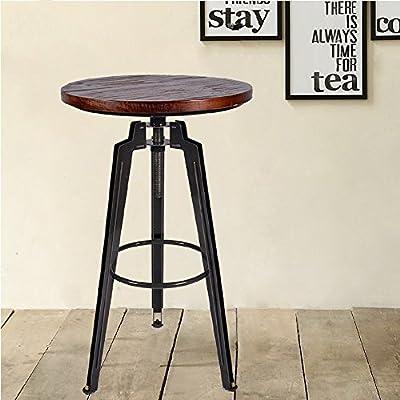Industrial Height Adjustable Swivel Bar Table Kitchen Metal&Pine Wood Table
