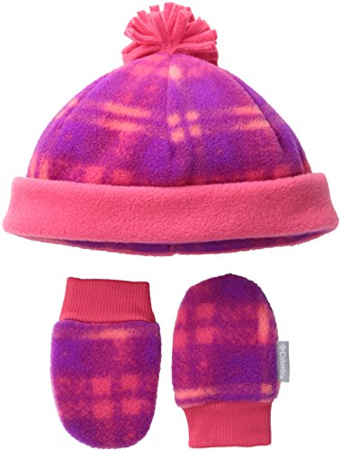 Columbia Baby Infant Frosty Fleece Hat and Mitten Set, Punch Pink Plaid Print, O/S