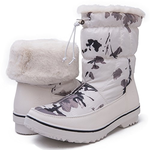 Global Win Globalwin Globalwins Dames Adeline Winter Snowboots Witte Camouflage