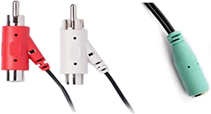 6-Ft RCA to 3.5mm Male IENZA 2 RCA Male 2 RCA Female Piggyback to 3.5mm TRS Male Audio Y Adapter Splitter Cable Wire Cord