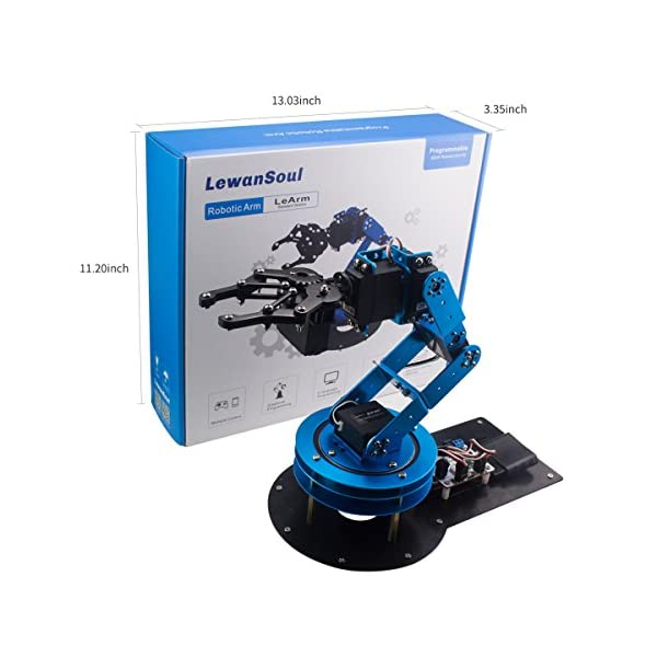 LewanSoul LeArm 6DOF Full Metal Robotic Arm with Servo Video Tutorials for Arduino Starter Free PC Software and APP Wireless Handle Controller