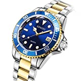 SONGDU Fashion Men's Quartz Gold Plated Two Tone Stainless Steel Watch with Blue Face and Gift Box