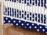 SheetWorld - Crib Skirt (28 x 52) - Primary Polka Dots Navy Woven - Made In USA