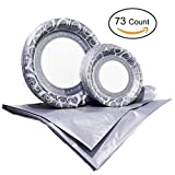 Tiger Chef Majestic Silver Disposable Plate Paper Dinnerware Set for 36 Guest, Includes 36 10-inch and 7-in Paper Plates and 1 Plastic Tablecloth 54x108-in, Party Pack Tableware, Wedding, Birthdays
