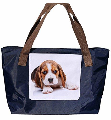 Shopper /Schultertasche / Einkaufstasche / Tragetasche / Umhängetasche aus Nylon in Navyblau - Größe 43x33cm - Motiv: Beagle Porträt - 04