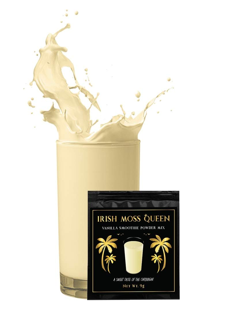 Irish Moss Queen Vanilla Drink Smoothie Powder Mix - 12 PACK Healthy Caribbean Jamaican Sea Moss Dr. Sebi Inspired - 100% Natural
