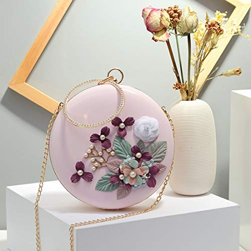 Hemotrade Mujeres Bolsos Mini Flor Redondos Embragues Blue Pink color Niñas Para Noche De rpq1BrXUn