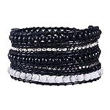 KELITCH Mix Beaded with Metal Bead Bracelet on Leather 5 Wrap Bracelet Handmade New Top Jewelry (Black)