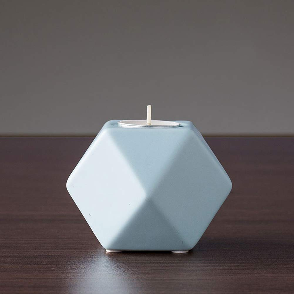 MAIHEIMOON Ceramic Candle Holder Creative Vintage Geometric Small Candlestick Table Decoration A-Blue2 Pics