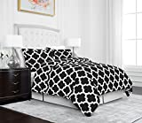 Egyptian Luxury Quatrefoil Duvet Cover Set - 3-Piece Ultra Soft Double Brushed Microfiber Printed Cover with Shams -Full/Queen - Black/White
