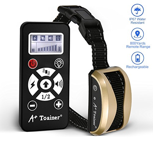 A+ Trainer 800 Yards Range Remote Dog Training Collar,(5 Years Warranty) Rechargeable and Waterproof Dog Shock Collar with Beep, Vibration and Shock Dog Collar for Small, Medium and Large Dogs by A+ Trainer
