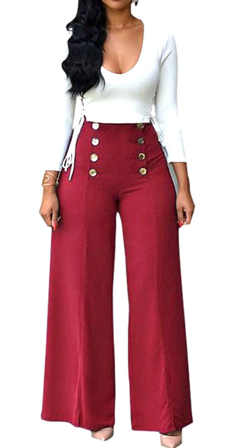 Papijam Womens Sexy Scoop Neck Long Sleeve Wide Leg Club Jumpsuits