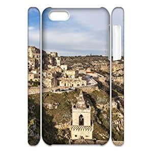 3D IPhone 5C Case Houses Matera City Italy for Women Protective, Iphone 5C Case Sexyass, {White} WANGJING JINDA