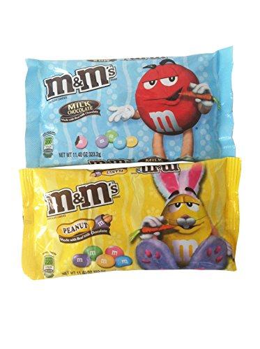 M&Ms Milk Chocolate Easter Blend Candy Bundle - 2 Items: 1 Bag Pastel Colored Plain M&Ms Plus 1 Bag Pastel Colored Peanut M&Ms