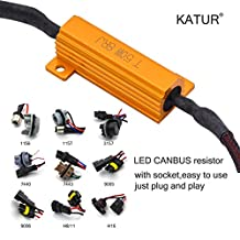 KaTur 2pcs 50W 8ohm H7 Load Resistor LED Xenon HID Headlight Turn Signal Light Fog Light DRL Anti-Flicker Warning Error Cancellor Capacitor