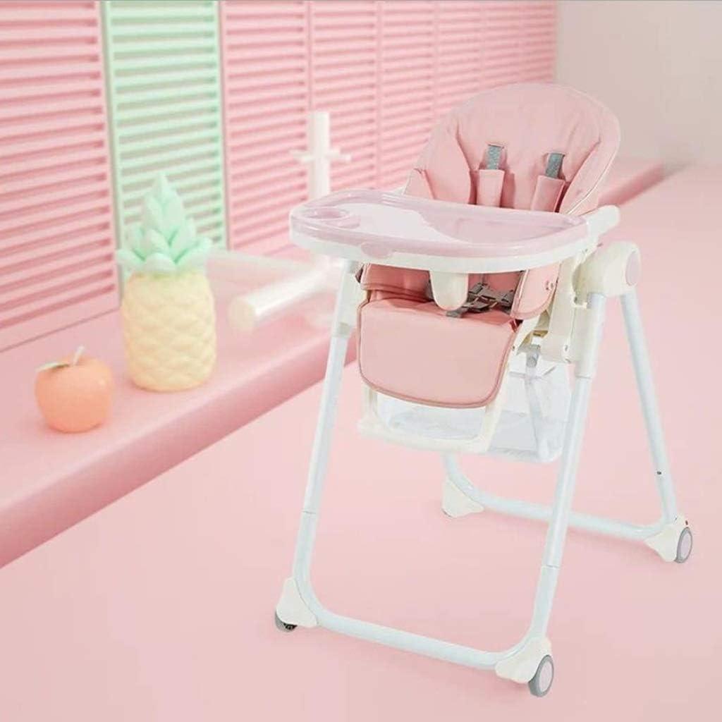 ベビーチェアハイチェア子ども椅子子供お食事椅子 幼児調節可能な折りたたみリクライニングダイニングチェアベビーフィードHighChair(取り外し可能なダブルトレイ、7種類の高さ、0〜6歳用) (Color : Pink)