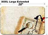 MSD Large Table Mat Non-Slip Natural Rubber Desk Pads Image ID: 4012916 Open Catholic Bible Rosary Beads and a Magnifying Glass on a Grunge b
