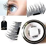 Mupater New False Magnetic Eyelashes, 3D Reusable Magnetic Fake Eyelashes, 0.02mm Ultra-thin, 1 Pair 4 Pieces