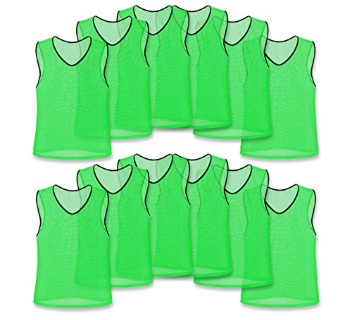 Nylon Mesh Scrimmage Team Practice Vests Pinnies Jerseys for Children Youth Sports Basketball, Soccer, Football, Volleyball (Green, ()