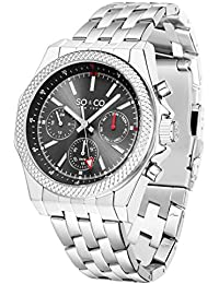 Mens 5003.2 Monticello Quartz Chronograph Day and Date Grey Dial Stainless Steel Link Bracelet Watch