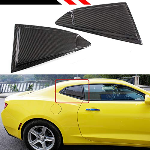 Cuztom Tuning for 2016-2018 Chevy Camaro Carbon Fiber Side Window 1/4 Quarter Louver Cover (Rear Window Cover Carbon)