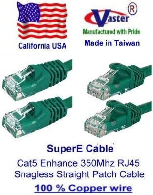SuperEcable -20673-1 Ft UTP Cat5e Ethernet Network Patch Cable UL 24Awg Pure Copper Green