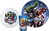 Zak! Designs Mealtime Set with Plate, Bowl and Tumbler featuring Avengers Assemble Graphics, Break-resistant and BPA-free plastic, 3 Piece Set