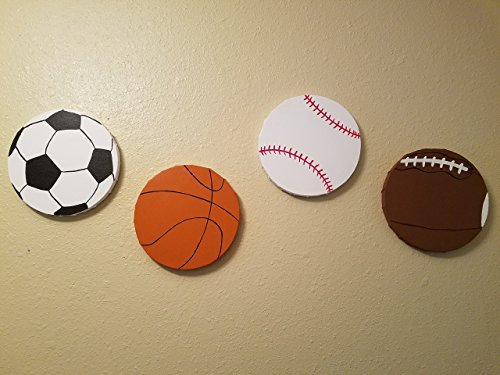 Sports Ball Themed Wall Art | Boys Bed Room Décor | Kids Room | Hand Painted | Baseball, Basketball, Soccer, Football | For Sports Room & Game Room 8 inch