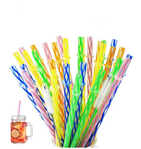 Yooga Plastic drinking Straws, Yeti straws.FDA and BPA-Free. Senfhome Colorful 32 Pieces 9.3 Inch Thick Plastic Drinking Straw for Party or Family Use, with 2 pcs Free Cleaning Brush.