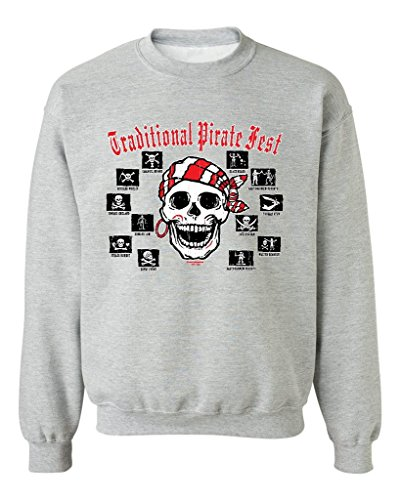 Traditional Pirate Crewnecks Skull & Crossbones Pirate Sweatshirts 3XL Sports Grey 51143 (Crossbones Fleece Grey And Skulls)