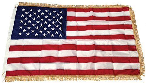 3X5 FT US USA AMERICAN FLAG 3'x5' INDOOR Heading and Grommets With GOLD FRINGE