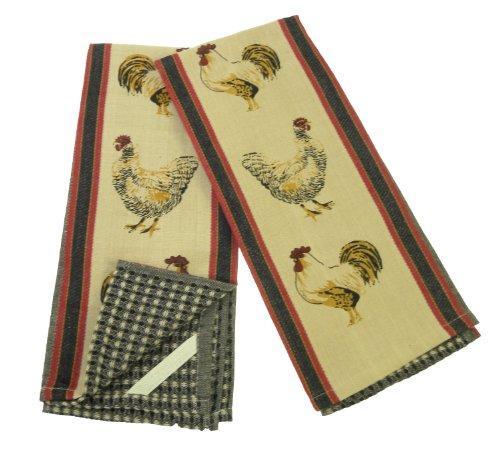 Hens & Rooster Kitchen Towels, Set of 2