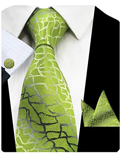 GUSLESON New Silk Plaid Tie Mens Necktie Handkerchief Cufflinks Set (0726-40)