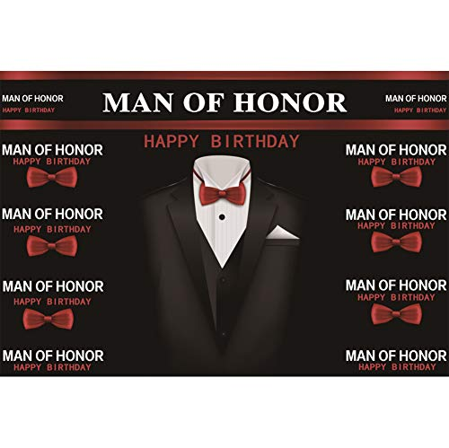 DORCEV 7x5ft Happy Birthday Photography Backdrop Man of Honor Theme Man Birthday Party Boys Coming of Age Ceremony Background Suit Tie Boys Birthday Photo Studio Props