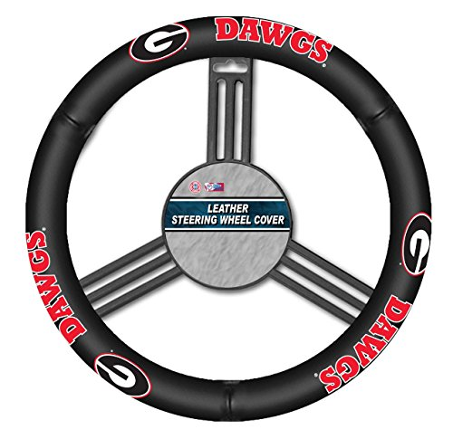 Georgia Leather Bulldogs - Fremont Die NCAA Georgia Bulldogs Leather Steering Wheel Cover, Black, One Size