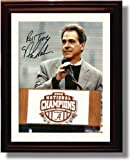 Framed Alabama Crimson Tide Football Nick Saban 2009 National Champions Podium Autograph Photo Print