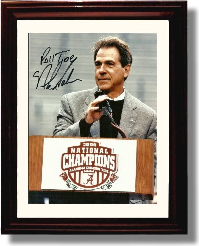 Framed Alabama Crimson Tide Football Nick Saban 2009 National Champions Podium Autograph Photo - 2009 Football