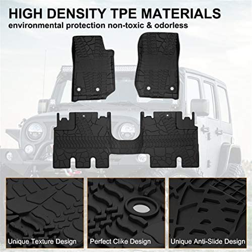 KIWI MASTER Floor Mats Compatible for 2007-2013 Jeep Wrangler JK 2-Door Front /& Rear Row TPE Floor Liners All Weather Protection Slush Mat Black
