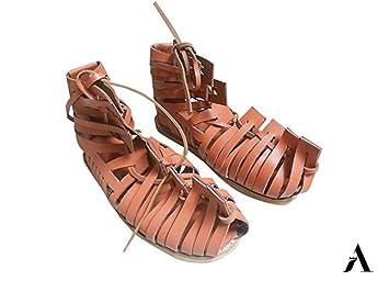 Amazon.com: AnNafi Sandalias de cuero Gladiador para hombre ...