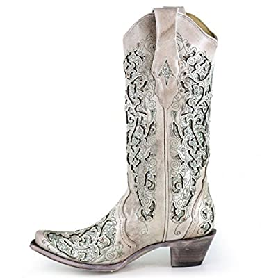 CORRAL White Leather Mint Glitter Inlay Boot with Crystals