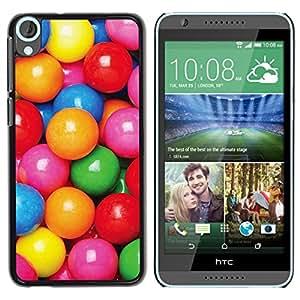 Caramelo Colorido patrón reflexivo rosa - Metal de aluminio y de plástico duro Caja del teléfono - Negro - HTC Desire 820