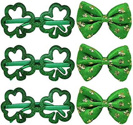Patrick/'s Day Decorations Patrick/'s Day set 5 Pcs include St Patrick/'s Day Socks+ Green Glasses+ Green necklace+ St Patrick/'s Day Bow+ Green Headband for Girls and Ladies St St