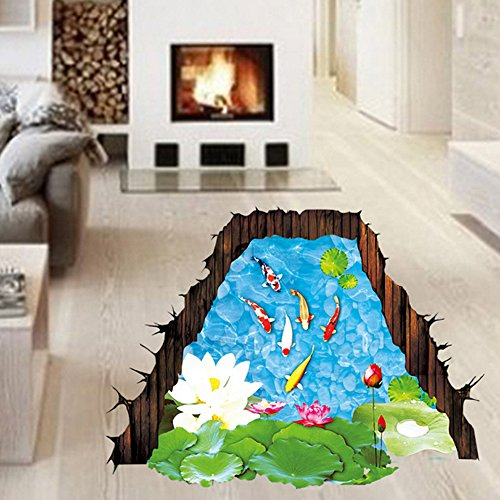 Top of top store 3D Animals Scenery View Wall Stickers 3D Fun DIY Wall Decals Home Decor PVC Art Mural Baby Boys Girls Kids Bedroom Kitchen Room Decoration Wall Sticker Posters (3D Lotus Pond Koi) Baby Mural