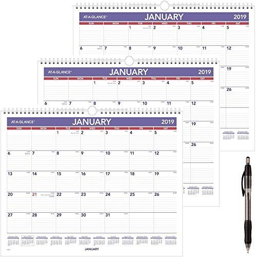 AT-A-GLANCE Monthly Wall Calendar, January 2019 - December 2019, 14-7/8