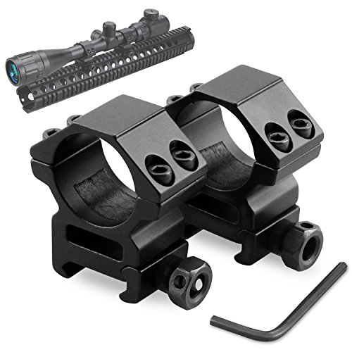 Picatinny Rail Scope Mounts (Rifle Scope Rings, Modkin Medium Profile Scope Mounts for Picatinny/Weaver Rail (1 inch, Set of 2))